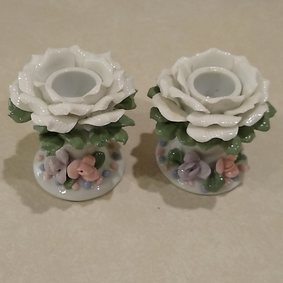 White Rose Porcelain Candle Holders
